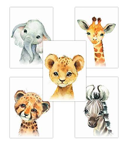 Pandawal Wandbilder Kinderzimmer/Babyzimmer Bilder für Junge und Mädchen süße Safari Tiere Elefant Löwe Zebra Giraffe Gepard 5er Poster Set (T14) im DIN A4 Format