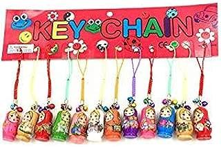 Wishlink 1 Set of 12pcs Fashion Jewelry Drip Charm Key Chains Wood Matryoshka Russian Dolls Key Rings Decorative Keychains