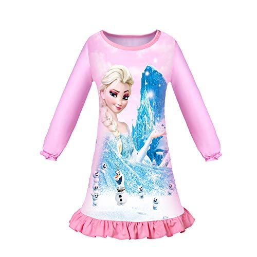 LQSZ Mädchen Nachthemd Prinzessin Kleid Nachtwäsche Nachthemden Pyjamas für Kinder Geschenk, A Rosa, 110