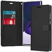 Goospery Galaxy Note 20 Ultra 手帳型ケース 6.9インチ カード収納 PU レザー カバー QI対応 ブルームーンケース (ブラック) NT20U-BLM-BLK