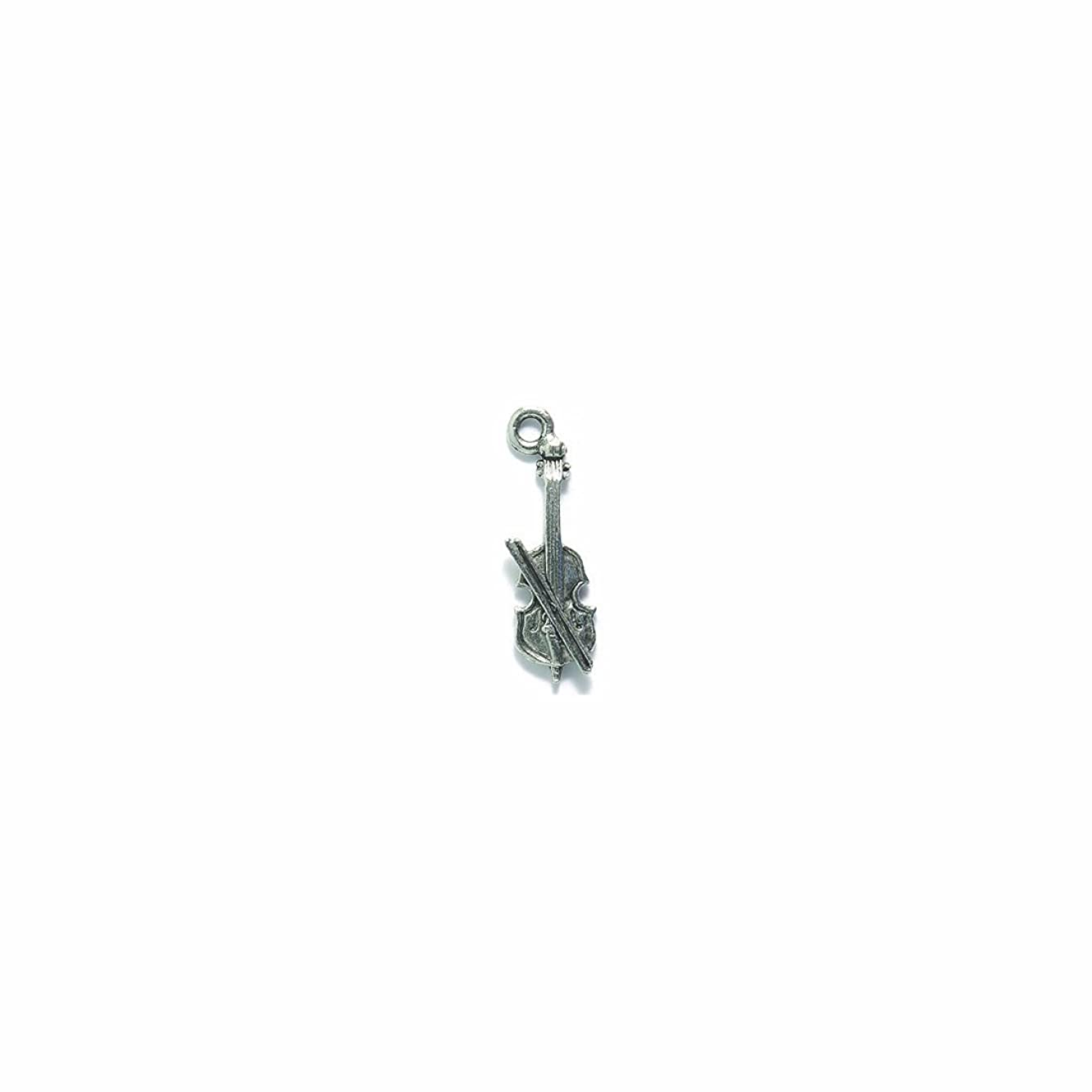 Shipwreck Beads Pewter Cello with Bow Charm, Silver, 8 by 23mm, 5-Piece