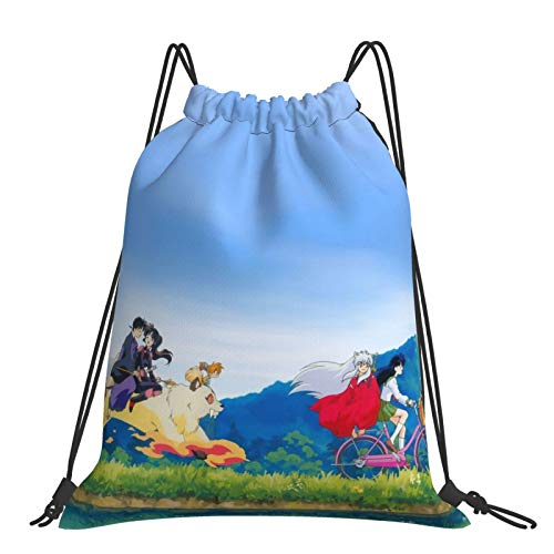 Inuyasha Kagome Bicycle Outdoor Backpack Drawstring Sackpack Anime Athletic Gym Swimming Running Lightweight Portable Bags Outdoorsy Hiking Traveling Folding Adjustive Unisex Polyester Storage Bags