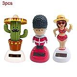 Dyda6 3 x Solarpuppe, tanzende Puppe, niedliche Schaukelfiguren für Büro, Auto, Dekoration