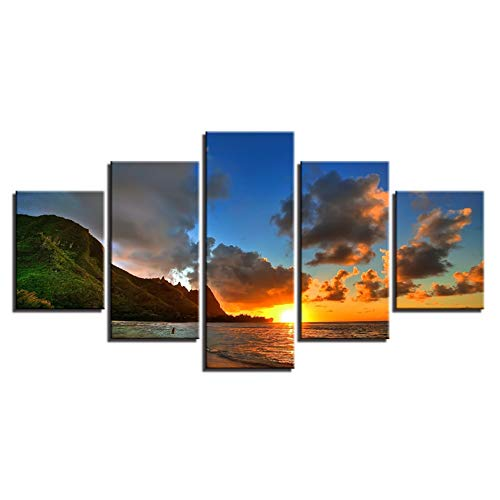 WHFDH canvas hd print schilderijen muurkunst lijst poster 5 stuks zonsondergang zee bergen zeelandschap foto's wooncultuur voor woonkamer 30x40 30x60 30x80cm Frame
