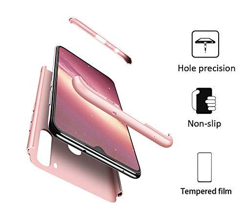 GoodcAcy Hülle Kompatibel mit Xiaomi Redmi Note 8T with Panzerglas Schutzfolie,360 Grad R&umschutz 3 in 1 PC Superleichte Handyhülle Schutzhülle Hüllen Tasche Bumper Cover für Rose