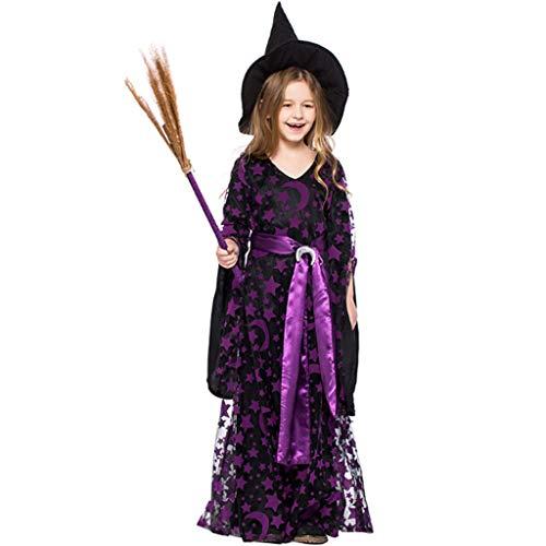 DONGBALA Mädchen Halloween Hexe Kostüm, Kleinkinder Hexe Kostümfest Märchen Prinzessin Kleid Deluxe Set Hexe Damen Kostüm für Schulspiele Karneval Cosplay Lila,S