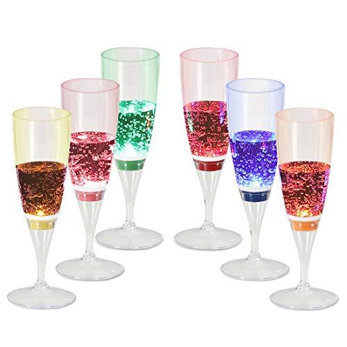 Signstek Copas de champán iluminadas con LED Pack de 6