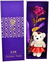 HANDICRAFT MALL 24K Golden Dipped Rose with I Love You Teddy Bear Doll, Box and Carry Bag