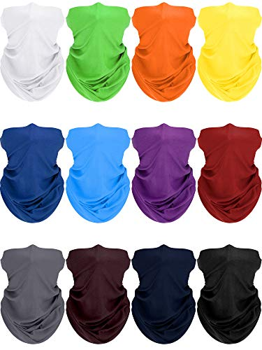 12 Pieces UV Protection Neck Gaiter Unisex Face Cover Bandana Summer Sports Scarf (Solid Colors)