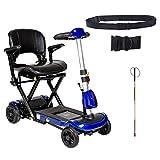 Drive ZooMe Auto-Flex Folding Travel Scooter, Blue, Model - Flex-AUTO & Free Folding Blind Cane + Black Wheelchair Seatbelt!