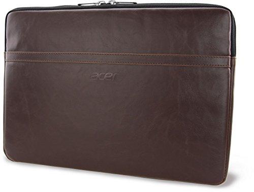 Acer Premium Notebook Tasche / Sleeve Case Bag Schutzhülle (bis 14 Zoll (35,5 cm), schmutz- & wasserabweisend, aus PU-Leder/Kunstleder, hochwertiges Design) braun