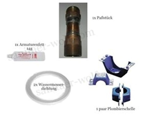 Wasseruhr Wasserzähler Paßstück Plomben Dichtungen senkrecht 105 mm
