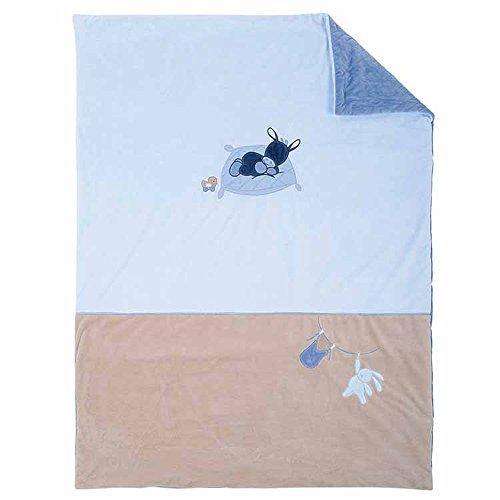 Nattou Couverture Douce Âne Alex pour Bébé, 100 x 135 cm, Alex et Bibou, Bleu
