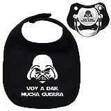 Pack chupete y babero negros Voy a dar mucha guerra, bebé parodia Star Wars -...