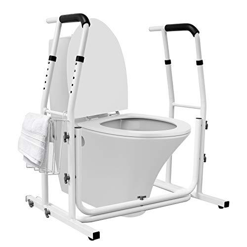 Froadp Mobile Aufstehhilfe Toiletten Höhenverstellbar mit Ablagekorb - Toiletten Stützgestell Haltegriff höhenverstellbar für Bad, Belastbar bis 200 kg