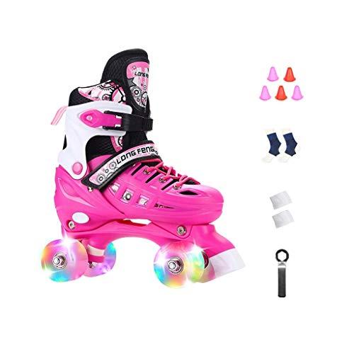 Roller Schuhe, Schlittschuhe Erwachsene zweireihig Skates Unisexjustierbares Roller Skates Full Set Voll Flash (Farbe: Pink, Größe: M (35-38 Meter)) dongdong ( Color : Pink , Size : M (3538 yards) )