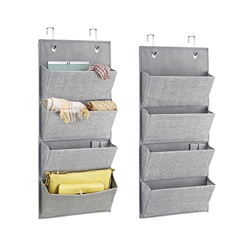 mDesign Wardrobe Organiser in Jute Pattern - Set of 2 - Fabric Over Door...