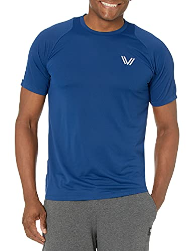 Amazon Brand - Peak Velocity Men's Channel-Knit Performance Short Sleeve Quick-dry Athletic-Fit Run T-Shirt, Victory Blue, Large