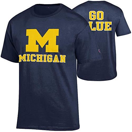 Elite Fan Shop Michigan Wolverines Tshirt Back Navy - X-Large