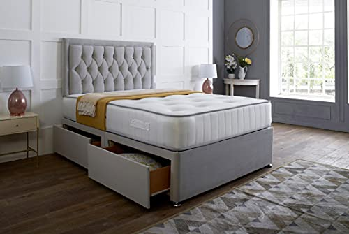 Silver Plush Memory Foam Divan Bed Set With Tufted Mattress, 2 Drawers and Headboard (3FT Single)