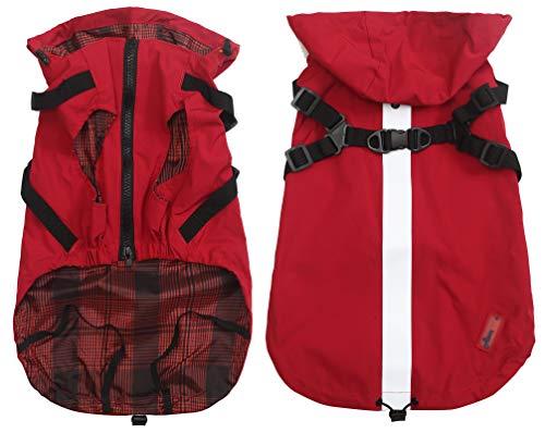 Płaszcz przeciwdeszczowy dla psa z uprzężą i bluzami z kapturem, płaszcz przeciwdeszczowy dla szczeniąt małych średnich psów - czerwony - XS