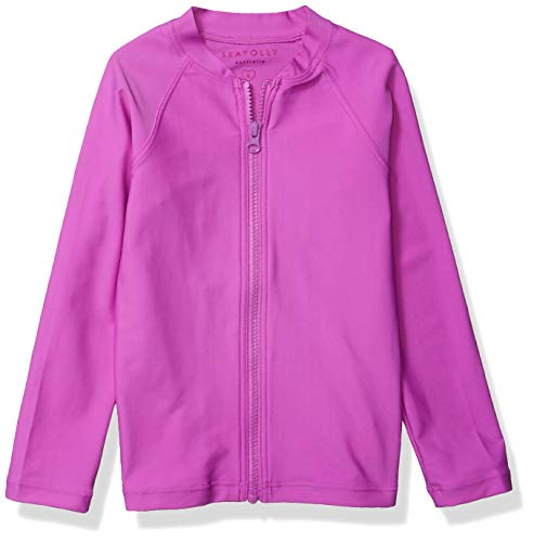 Seafolly Girls' Toddler Long Sleeve Zip Front Rashguard, Sweet Summer Purple rain, 2