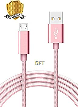 Micro USB Cable Nylon Braided Android Charger Cord High Speed USB2.0 Sync Charging Cables Rose Gold Compatible Samsung HTC Sony Motorola Nokia Google Android Tablets 6FT 1PACK