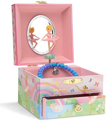 Jewelkeeper - Schmuckkaestchen mit Spieluhr mit drehender Ballerina, Regenbogen- und Goldfolien-Design - Schwanensee Melodie