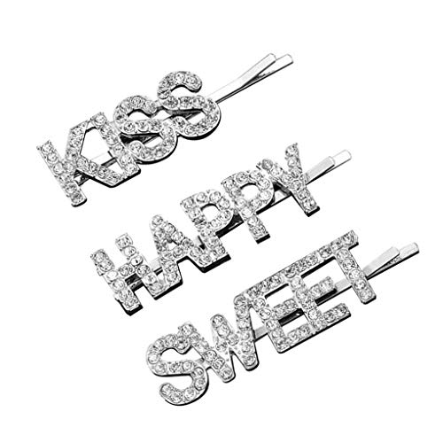 Mingtongli 3 PC/Set Frauen Hairpin Englische Wörter Jahrgang Strass Legierung Haar-Klipp-Haar-Zusatz, F0041-2, Silber