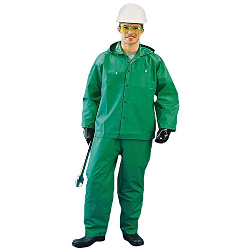 Chemical Suit for Men and Women Waterproof Hooded Heavy Duty Hazmat Rain (Extra Large, Green, 1 Piece)
