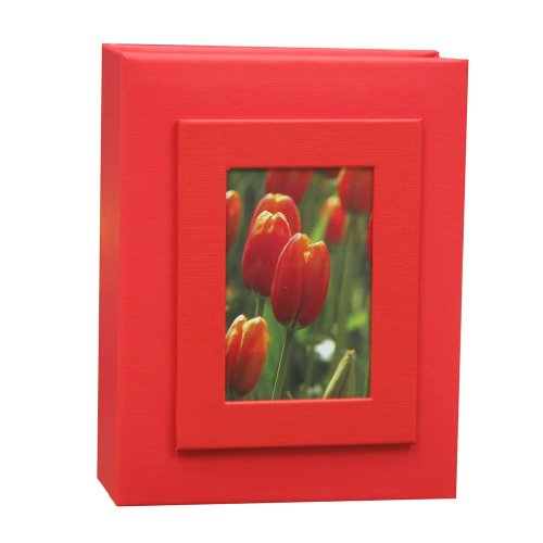 KVD Albums 4x6 Photo Album, Fits 100 Pictures with Window Frame Cover Red
