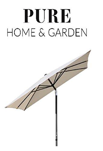 Pure Home & Garden Kurbelschirm 300x300 Natur, mit UV-Schutz 40 Plus, Knicker und abnehmbarem Bezug