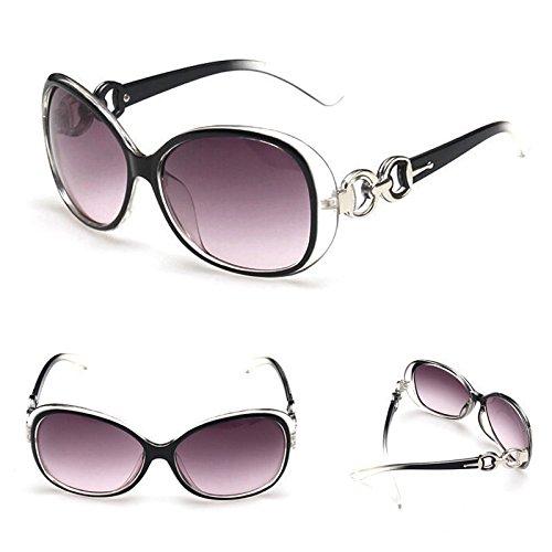 Negro New Womens Ladies Retro Vintage gafas gafas de sol de estilo aviador (Marcos para hombres y mujeres–funda de gafas venta amor corazón Shades gafas de sol para gafas