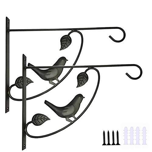 CHELIZI Gancho para cesta de flores de metal con patrón de pájaro, color negro, 2 ganchos para abrigos, 30 x 24 cm, gancho para colgar lámpara de queroseno
