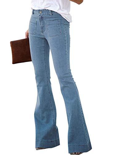 Calça jeans feminina Sidefeel com bainha crua e cintura elástica, Sky Blue-62, X-Large