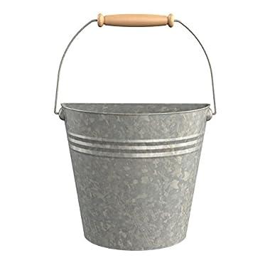 Panacea 83220 Aged Galvanized Half Round Wall Buckets with Wood Handles
