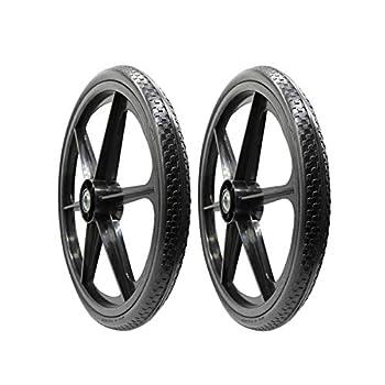BAIVE BW 20x2 Inch Flat Free Cart Wheel Replacement Tire for Wheelbarrow Cart 2.44  Hub 3/4  Ball Bearings  Pack of 2