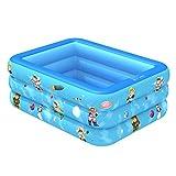 hhh Piscina Familiar,Rectangular Tamaño Completo Verano Piscina Inflable Piscina Niños Tina Baño para Adultos Infantil Exterior Centro Natación Fiesta Agua-Azul 120cm