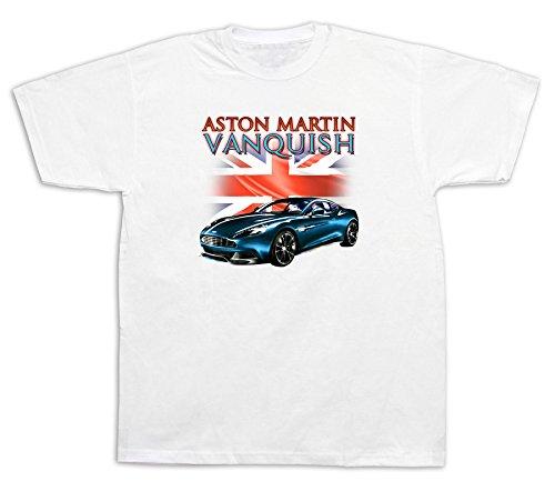 New Mens cotton T-shirt print Aston Martin vanquish British flag Super Car