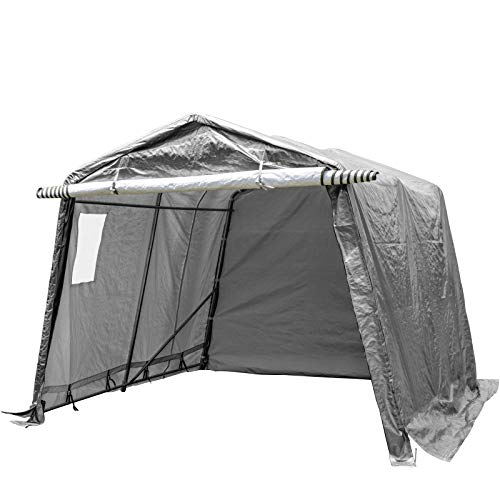 VEVOR Shelterlogic 3,1 x 3,1 x 2,4 M, Gerätezelt Wasserdicht, Motorrad-Garage mit PVC Fenster, Tragbarer Fahrradgarage Polyethylen Material,...