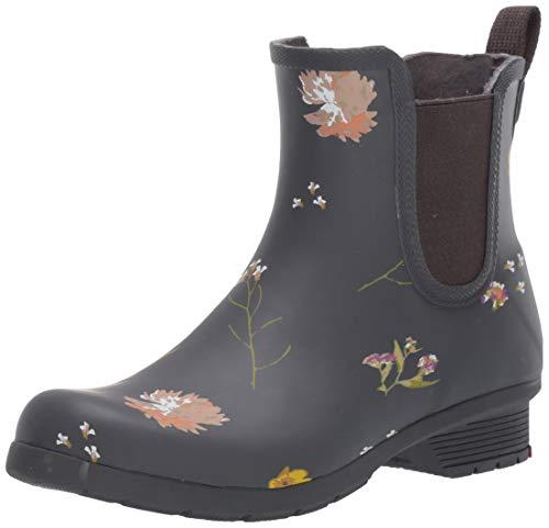 Chooka Women's Waterproof Printed Chelsea Boot with Memory Foam, Flower Press Navy, 10 M