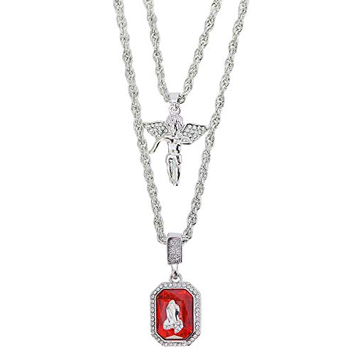 Angel Crystal Hiphop Pendant Rope Fashion Gift for Men Ruby Diamond Faith for Men with 24' and 28' Chain