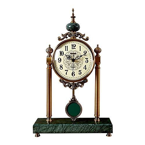 ZLDMYC Exquisito Manto Reloj Chimenea Reloj silencioso Mesa Reloj Sala de Estar luz Lujo Columpio Mesa Reloj Modelo Sala decoración Adornos Creativo (Color : Green)