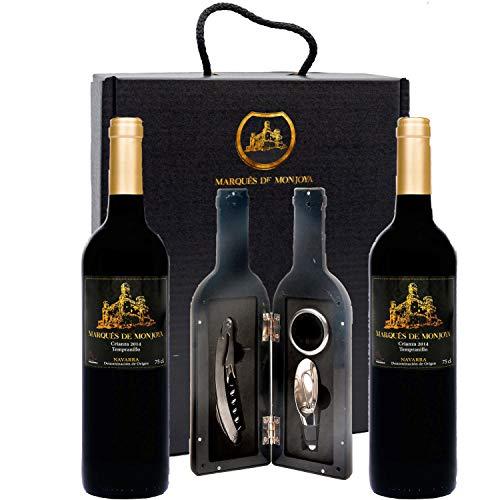 Caja de Vino Tinto - Pack de 2 Botellas con Set con sacacorchos servidor con tapón y aro antigoteo Regalo Original - Crianza D.O. Origen Navarra - Estuche ideal para regalar.
