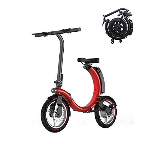 Poooooi C-Fach 14 Zoll Elektrisches Fahrrad Elektro-Fahrrad Fahrrad Der Auswechselbare Lithium-Batterie,Rot