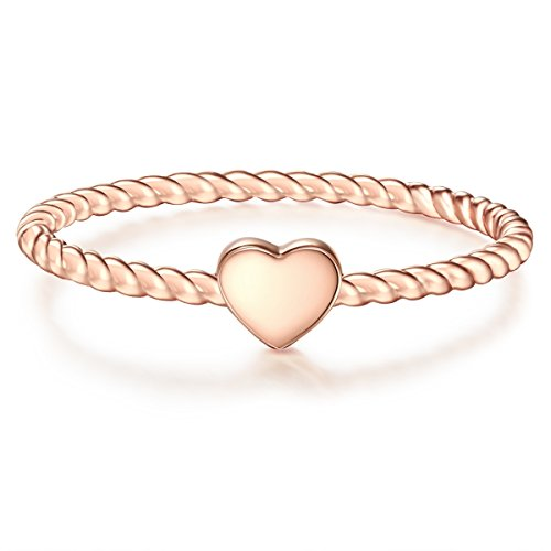 Glanzstücke München Damen-Ring Herz Sterling Silber rosévergoldet - Damen-Schmuck Freundschafts-Ringe dünner Steck-Ring