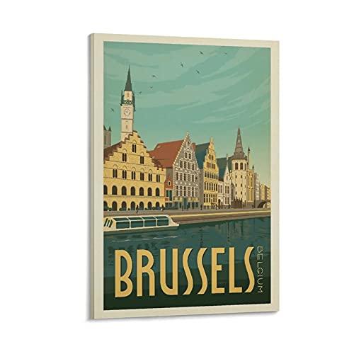 QTYB Póster vintage de Bélgica en el puerto de Bruselas, póster decorativo de 40 x 60 cm