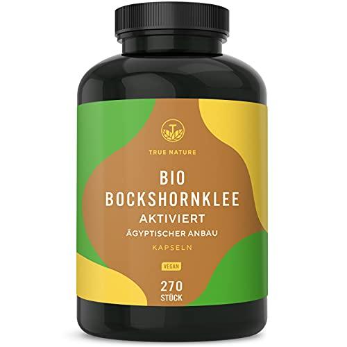 Bio Bockshornklee Aktiviert - 270 Kapseln mit je 650mg - für normalen Blutdruck - Hochdosiert mit 2.600mg - Hochwertiger Rohstoff aus Ägypten - Vegan, Laborgeprüft, Deutsche Produktion - TRUE NATURE®