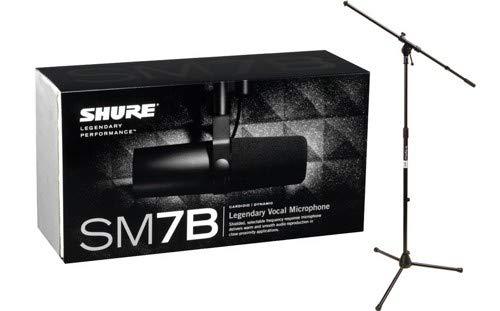Shure SM7B Cardioid Dynamic Microphone w/Tripod Boom Stand Package