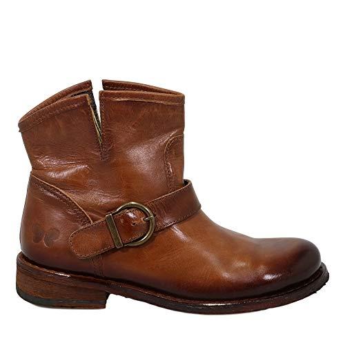 Felmini - Damen Schuhe - Verlieben GREDO A946 - Cowboy & Biker Stiefeletten - Echtes Leder - Braun - 37 EU Size